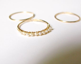 sale Thin band ring- Tiny cultured pearl gold filled stacking rings- pearl eternity band gold filled thin rings-set of 3 or buy only one