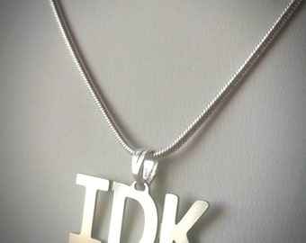 IDK Text Talk Fashion Necklace - texting abbreviation I Don't Know