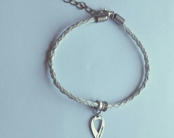Lung cancer awareness bracelet ribbon jewelry support for Jewelry that supports a charity