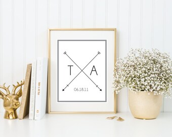 Customizable Couple Initial & Wedding Date | Quote Print | 8x10