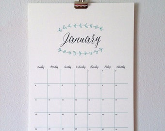 2016 Wall Calendar, Large – Pretty Leaves