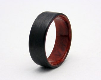 carbon fiber ring with amboyna burl wood lining carbon fiber wedding ring