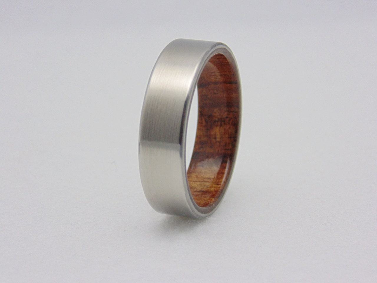 koa wood and titanium ring titanium wedding band