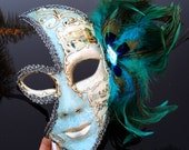 Mardi Gras Mask, Masquerade Mask, Mardi Gras, Full Face Masquerade Mask with Peacock Feathers and Gems, Masquerade Ball Mask, 4everstore