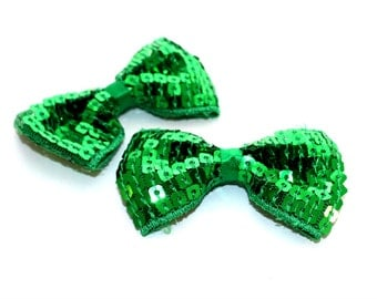 2 Small Sequin Bow Ties--Emerald