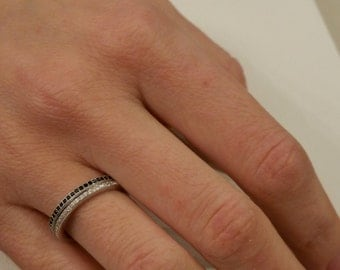 Stacked Silver Ring Set - Black Cubic Zirconia Ring - Thin Wedding Band Set