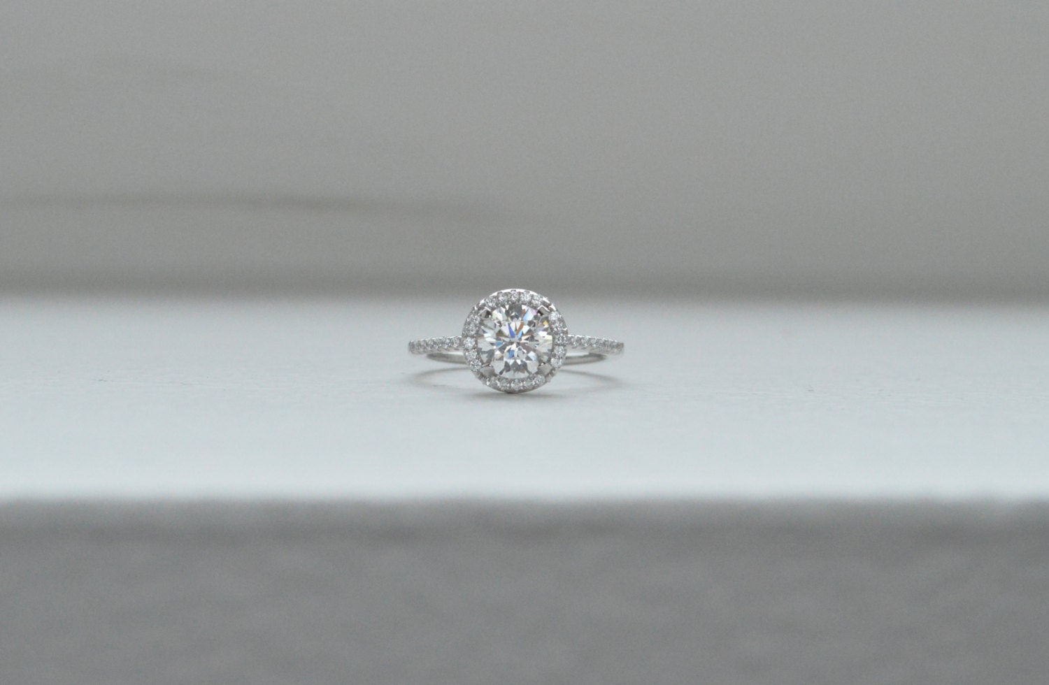 Thin Halo Engagement Ring Solitaire Engagement Ring