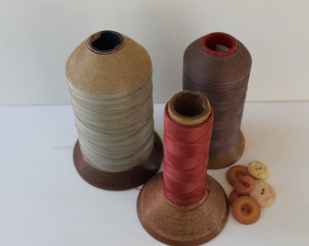 Antique Lot of 3 Large Industrial/Commercial Wood Thread Spools