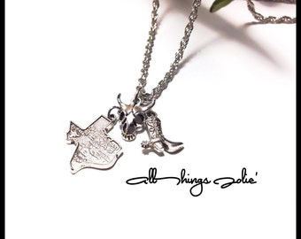 Texas Cowboy Rodeo Necklace - Cowboy Silver Rope Chain Jewelry