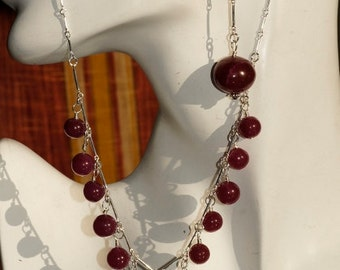 Ref: 098   Natural ruby necklace and earring silver set.