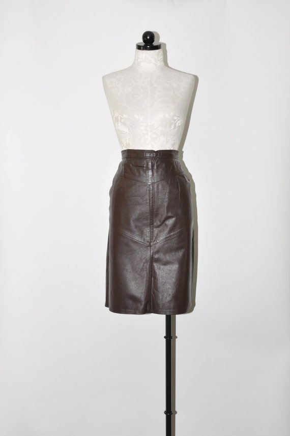 brown leather pencil skirt minimalist leather by quietunrest