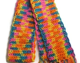 Crochet scarf rainbow adult size scarf, rainbow colored scarf, ready to ship!