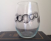 "Custom stemless wine glass your name in ""Gallifreyan"" inspired font"