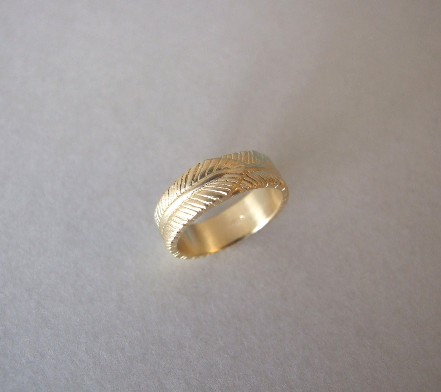 jewelry rings width wedding front engagement coffin gold kristin recycled feath band products mid feather set