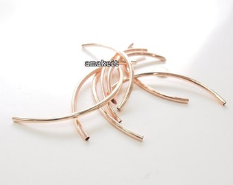Round curved tube, 14cm long, Rose gold color, CF01925