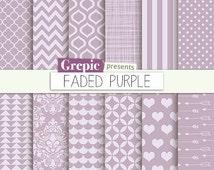 "SALE 50% Lilac digital paper: ""FADED PURPLE"" with vintage soft purple / lilac / pastel colors patterns inc chevron, polkadots, str"