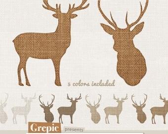 "Deer clip art: ""BURLAP DEERS"" high resolution deers in burlap / linen / canvas style, 2 deers in 5 burlap textures"