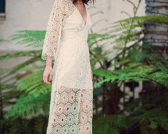 Bohemian Wedding Dress French Lace Lilac Gown