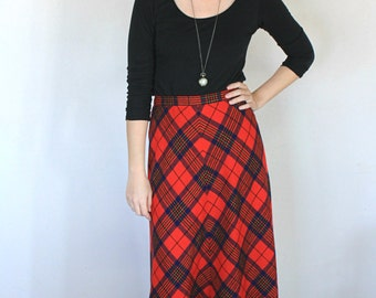 "Very Long Heavy Red Plaid Maxi A-Line Skirt - 28"" Waist"