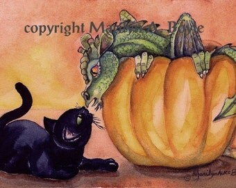 PRINT - Baby DRAGON and CAT; black cat, pumpkin, Halloween, fall, autumn, illustration, art, reproduction
