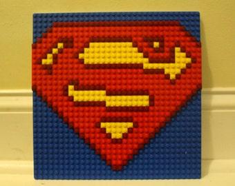 "SUPERMAN Lego Mosaic 10""x10"""