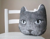 chartreux cat pillow head shaped russian blue cat throw pillow decorative cushion british shorthair cat grey hand painted
