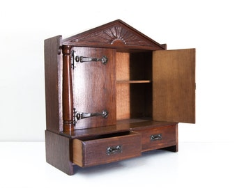 English Art Neuveau Miniature Cabinet
