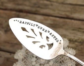 Happily Ever After Cake Wedding Pie Server - Hand Stamped  - Vintage Silver Plate - Holiday - Keepsake - Decor