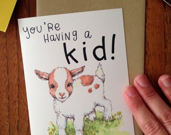 You're Having A Kid! Goat Kid New Baby Card