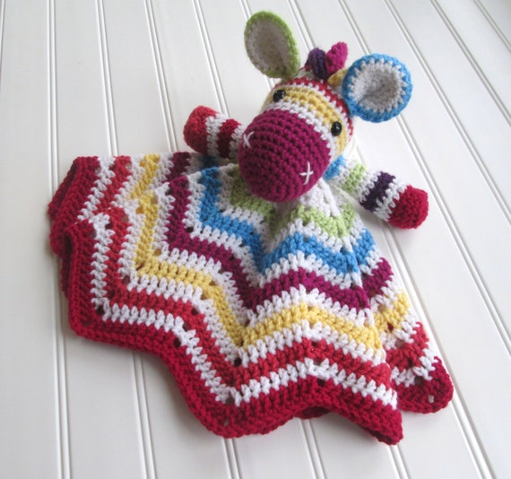 Crochet Zebra Blanket : Crochet Rainbow Zebra Lovey Security Blanket