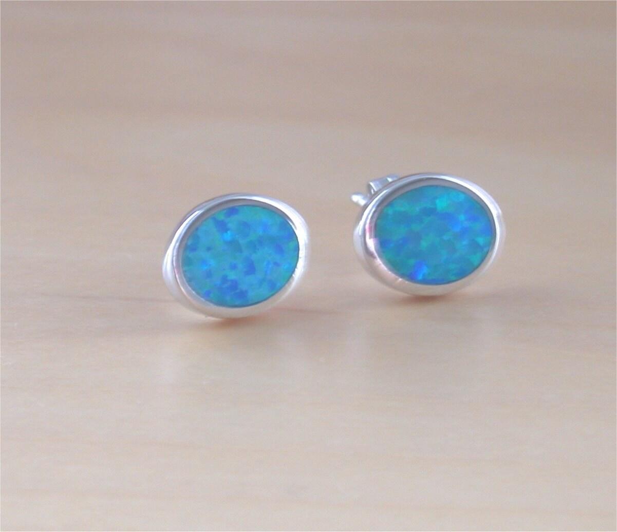925 blue opal oval stud earrings opal oval earrings opal. Black Bedroom Furniture Sets. Home Design Ideas