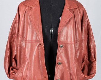 Ladies vintage dark coral pink leather jacket