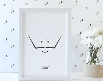 Salvador Dali Art Print • Little Artist by Celebratink • Surrealism • Art • Moustache • Children's Wall Decor • A4 (8.2in x 11.6in)