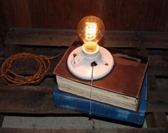 Vintage Book Lamp,repurposed,recycled,desk Lamp,gift For Teacher,industrial