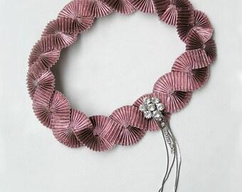 Pink Flapper Headband, Ribbon Hairband, Pink Air Accessories, Art Deco 20s flapper Headpiece,  Vintage Rhinestone Jewelry, Fascinator