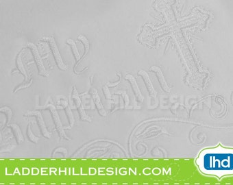 Cross Machine Embroidery Design -- My Baptism with Satin Scroll Easter Embroidery Design REL014