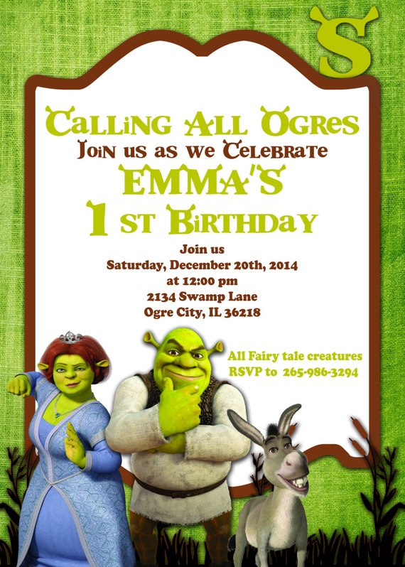 Items similar to DIGITAL or PHYSICAL INVITATION, Shrek ...