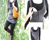 JANE Maternity Clothes/ Nursing Top/ Breastfeeding Top New Gray Vest w Blk Longsleeve/ Nursing Clothes Tops Pregnancy Maternity Clothes