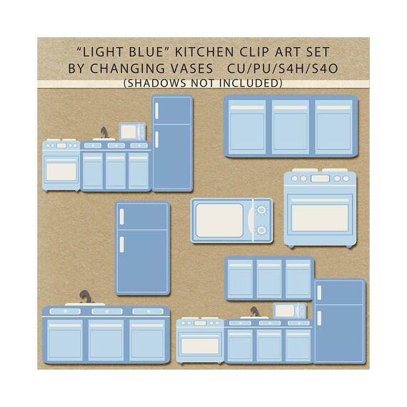Items Similar To Light Blue Kitchen Clipart Clip Art