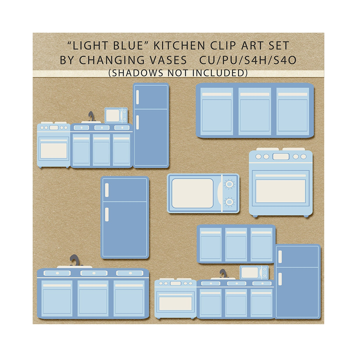 Light Blue Kitchen Clipart Clip Art Graphics By ChangingVases