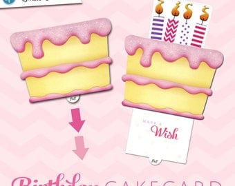 Birthday Greeting Card     Pink Birthday CakeCard   Interactive Sliding Pop-up Greeting Card