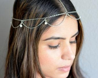 THE RANIA! Silver Draped Cascading Pearl Gatsby Hair Chain Jewelry Hippie Boho Wedding Bridal Grecian Goddess Kim Kardashian Tiara