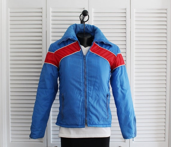 1980s Ski Jacket Coat Jcpenney Blue Red Quilted Winter Nylon