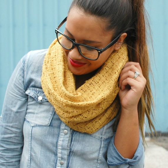 Mustard Yellow Thick Infinity Scarf/Cowl