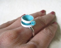 Paper Jewelry - Miniature Cup Ring, cocktail ring, statement ring - Quilling Jewelry
