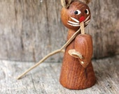 Vintage Danish Wooden Cat And Mouse  - Wood and Leather