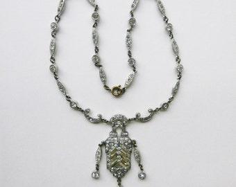 Art Deco pot metal rhinestone paste pave choker formal wedding necklace