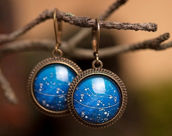 Galaxy earrings, dangle earrings, glass earrings, antique brass earrings, constellation earrings, leverback earrings, space earrings