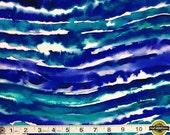 "Blue Wave Tie Dye Spandex Fabric SALE 4 Way Stretch Lycra Knit By The Yard 58-60"" Wide"
