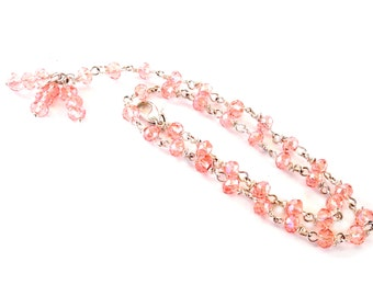 Pink Crystals for Friendship Necklace. Rosary style, Jewelry necklace, rosary chain handmade in Pink cristals and silver plated.
